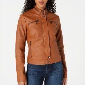 Maralyn & Me Cognac Zip Front Biker Jacket